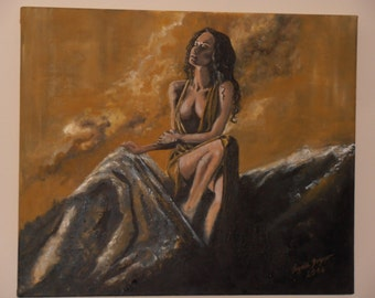 Oil painting, beauty in the light, painting, woman, erotic, nude, artwork, people