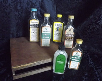 Vintage Flavorings - Vintage Extract Bottles, Flavoring Bottles, Watkins Bottle, Rawleighs Extract Bottle, Kitchen Klatter Flavor Bottle