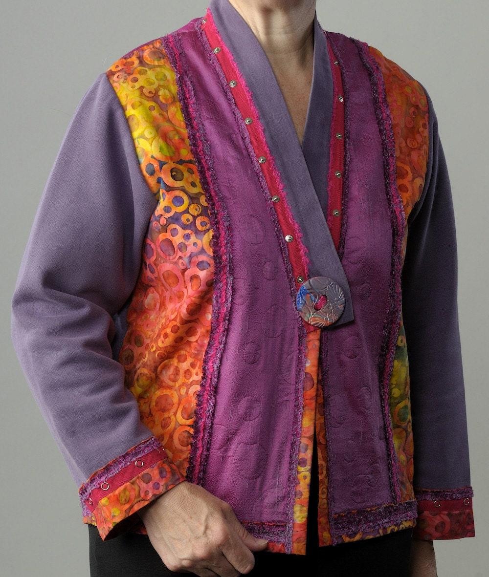 Fuchsia Purple Batik Sweatshirt Jacket For Women Ladies
