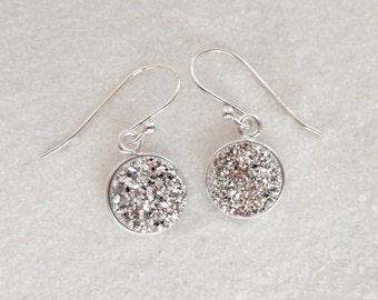 Silver Druzy Earrings Sterling Silver Drusy Quartz Round Circle Titanium Drops - Free Shipping Jewelry