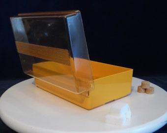 MIFLEX sugar plastic box orange of the 70s.  Stamped MIFLEX. Made in France.
