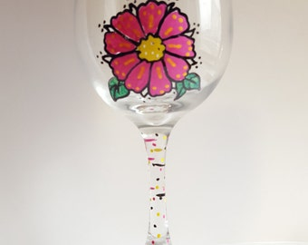 Gerbera Flower Wine Glass