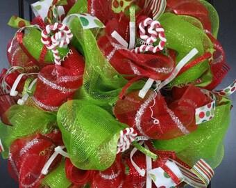 Christmas Wreath - Front Door Wreath - Red and Green Wreath - Small Christmas Wreath - Christmas Decor - Deco Mesh Wreath