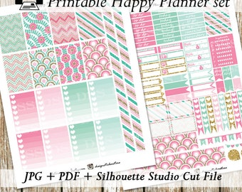 Pink Mint Gold Happy Planner Stickers/Printable Happy Planner Stickers/Mambi Planner Stickers/Happy Planner Stickers