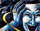 The Great Pretender - Original werewolf mask Art drawing painting large 25 x 50 cm