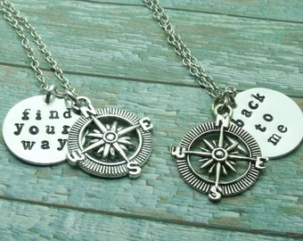 Find Your Way Back To Me Compass Necklaces, Mother Daughter Necklaces, Distance Necklaces, Friendship, Sisters, Set of Two, Best Friend Gift