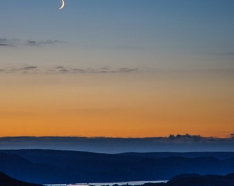 Crescent Moon Over Kernsary Landscape Photograph