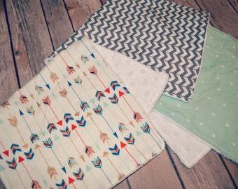 Burp Cloths, Set of 3 - Gender Neutral, Mint, Gray, & Arrows