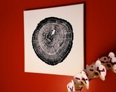 "Oak Tree Print on Canvas, Original Tree Ring Print, 12""x12"""