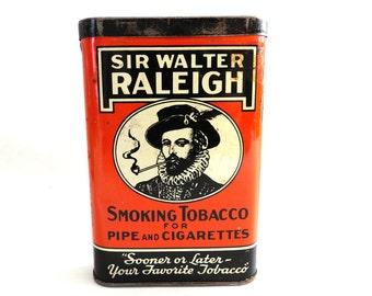 Tobacco tin. Sir Walter Raleigh Smoking Tobacco tin. Collectible advertising tobacco, cigar tin. Tobacciana, storage. #64AGDCK1