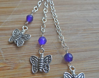 Spring Flutters- Triple Cascading Amethyst and Sterling Silver Butterfly Necklace