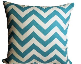 Teal Chevron - Decorative Pillow Cover