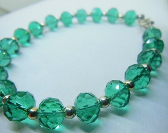 Emerald Green with silver ball spacers Christmas,summer, spring, st patricks