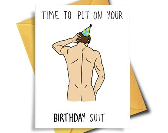 Funny Birthday Card, Birthday Suit Naughty Card, Birthday Card For Him, Card For Boyfriend, Birthday Card Boyfriend, Card For Girlfriend