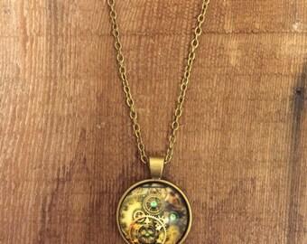 Clock Pendant on Copper Chain