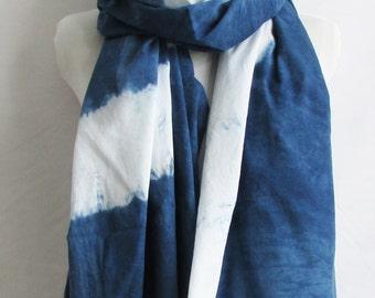 Large Unique Hand Dyed Hand Made Indigo blue and white shibori striped cotton sarong / scarf INDI012