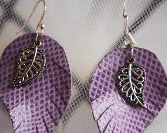 purple leather dangle earrings
