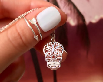 Skull Necklace - Sterling Silver Skull Necklace - Sugar Skull Necklace - Skull Charm Necklace - Skull Necklace - Layering Necklace