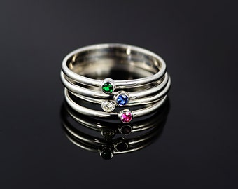 9ct/18ct White Gold Thin Stacking Ring, 1.5 mm width Gem Stone Stacking Ring, Birth Stone band, Blue Sapphire/Diamond/Ruby/Emerald