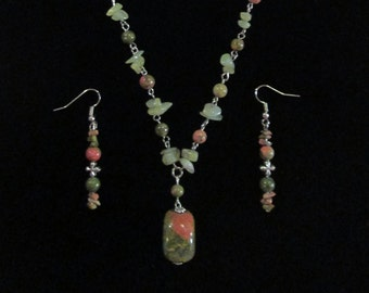 Rhyolite Necklace and Earring Set