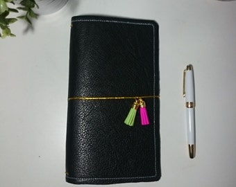 Carbon Black LadyDori - Unique leather notebook cover