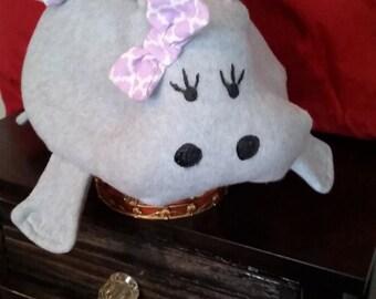 Hippo Lavender and Gray Girl/Female Safari/Zoo/Animal  Fleece Child's/Toddler/ Girl Overnight bag/Tote/Luggage