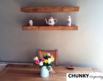 Floating shelves Rustic shelf reclaimed chunky shelves 7cm thick