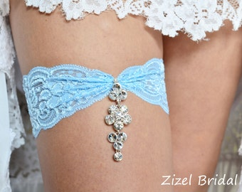 Lace Wedding Garter, Blue Wedding Garte, Bridal Garter Set, Rhinestone Garter, Blue Garter, Something Blue Wedding Garter, Blue lace Garter
