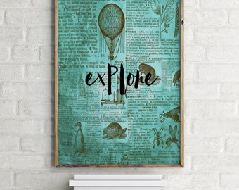 """Dictionary art print """"Explore"""" Dictionary art Dictionary page Inspirational poster Wall artwork Motivational quote Instant download"""