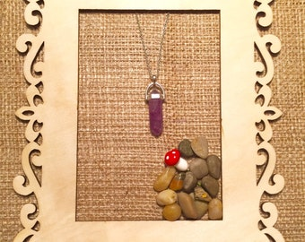 Amethyst Crystal Necklace - Silver