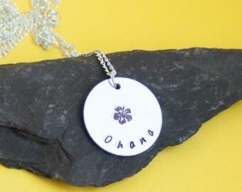 ohana, ohana necklace, hand stamped, hawaiian necklace, hawaiian jewelry, ohana jewellery, hand stamped, hand stamped jewelry, girl gift