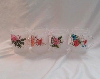 1980s Set of 4 White Plastic Flower Mugs