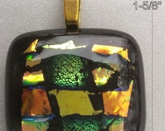 Dichroic 4 Layered Fused Glass Pendant - Handcrafted in USA