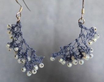 Hand-Knit Earrings, Opal Seed Beads, Dusty Blue Wool Yarn, Dangle Earrings