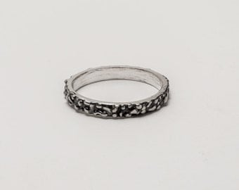 Stacking Ring - Textured Oxidized Silver Stacking Ring