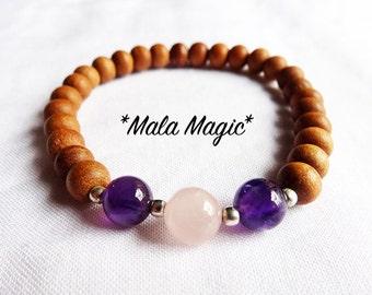 Mala Magic: Amethyst & Rosequartz Sandalwood Bracelet