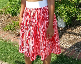 African Print, Batik, Ethnic, Midi Skirt