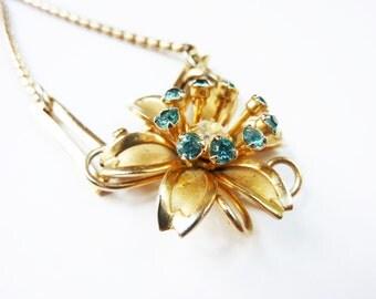 Vintage 1950s Flower Rhinestone Pendant Necklace