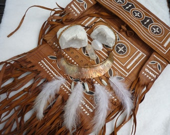 Indian Nomad Gypsy Boho copper stone of moon feather ∴∴ ∴ EMAJARA ∴ ∴ ∴ handmade necklace necklace Original and Festival