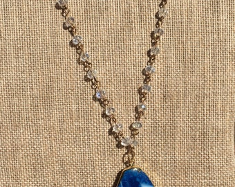 Long Tassel and Druzy Agate Stone Necklace