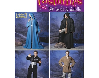 Sewing Pattern for Mens or Womans Cloak, Cape Tunic Costume,Simplicity Pattern 5840, Halloween Costume, Cosplay, Star Wars, Obi Belt, Unisex