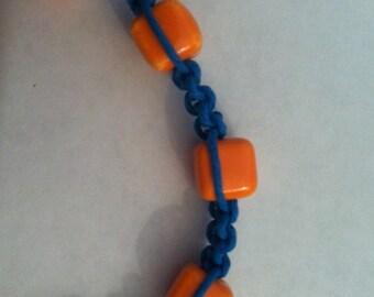 Macrame Bracelet Blue and Orange