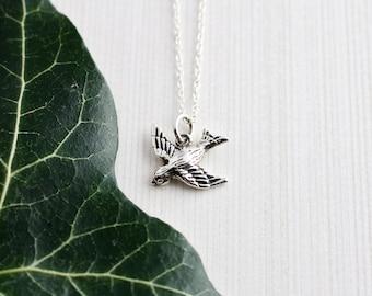 Sterling Silver Song Bird Necklace, Bird Charm, Bird Pendant, Animal Pendant, Delicate Necklace, Yoga Jewellery, Spiritual Jewellery