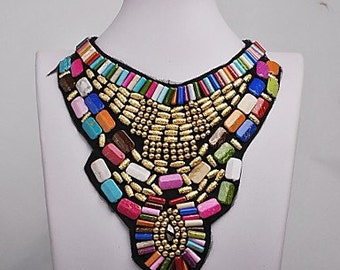 Multicolor Resin chunky bip necklace