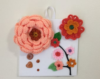 Crochet flowers, canvas wall art, kids room wall art, hanging wall art, flower on canvas, home decor, Wall decoration