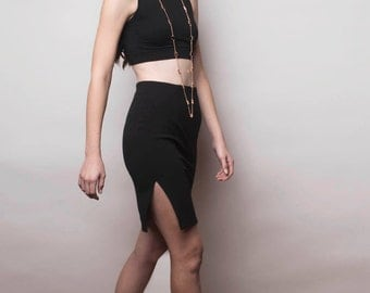 Black Pencil Skirts Side Split Mysterious by NPN Collaboration