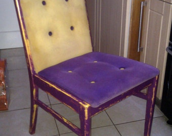 Shabby Chic Violet and Yellow upholstered chair
