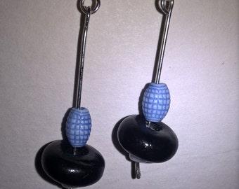 Blue and Black grenade Earrings