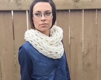 Knit Infinity Scarf, Chunky Knit Scarf, White Knit Scarf, Knit Cowl
