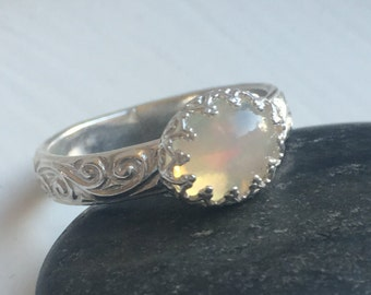 Opal Ring with Decorative Band